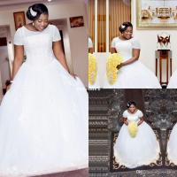 White Ball Gown African Wedding Dresses With Short Sleeves ...