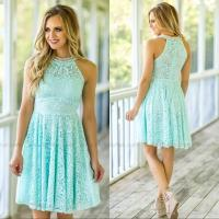Light Sky Blue Lace Short Bridesmaid Dresses Halter Neck ...