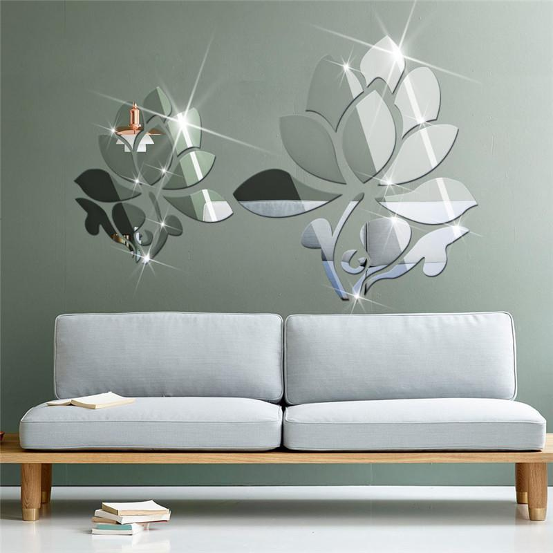 acrylic d diy mirror surface wall sticker of lotus flowers for