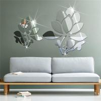 Acrylic 3d Diy Mirror Surface Wall Sticker Of Lotus ...