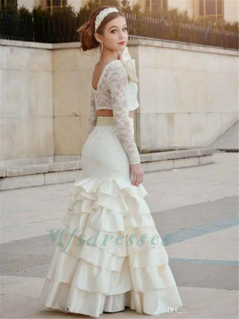 2017 Two Piece Mermaid Girls Prom Dresses Lace Appliques