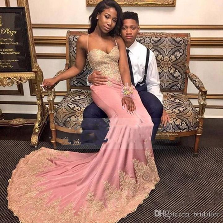 Long Elegant Black Girl Prom Dresses 2017 Mermaid Style
