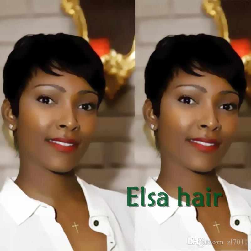 Hot Sale Short Human Hair Cut Pixie Wigs Straight Ladies