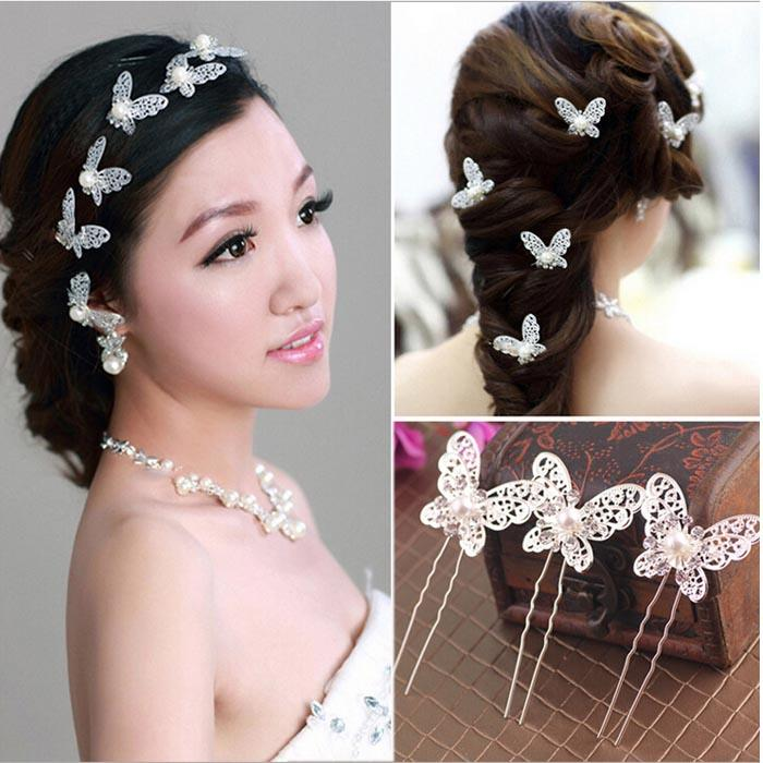 Charming Wedding Hair Piece Butterfly Bridal Pearl