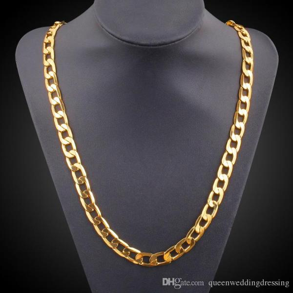 Vintage Long Gold Chain Men Necklace Brand Trendreal Plated Thick 18k 9.5mm