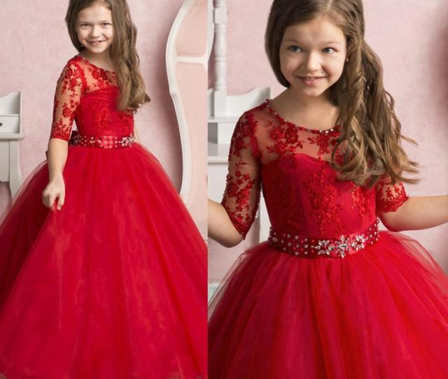 Hot Selling Red Long Graduation Gown Kids Toddler Pageant Dress Girls Formal Wear Custom Made Flower Girl Dresses With Sash Crystals Fuchsia Flower Girl