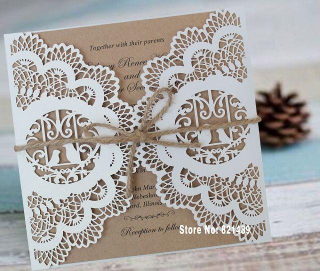 Wholesale Vintage Wedding Invitation Rustic Bridal Shower Invitation Printable Lace Wedding Invitations Set Of  Birthday Greetings Birthday Greetings