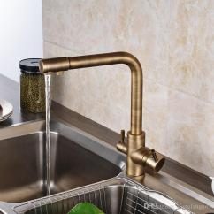 Antique Bronze Kitchen Faucet Portable Island With Granite Top New Popular Retro Style Brass Two Waterout Long Swivel Spout Pure Water Purification Mixer