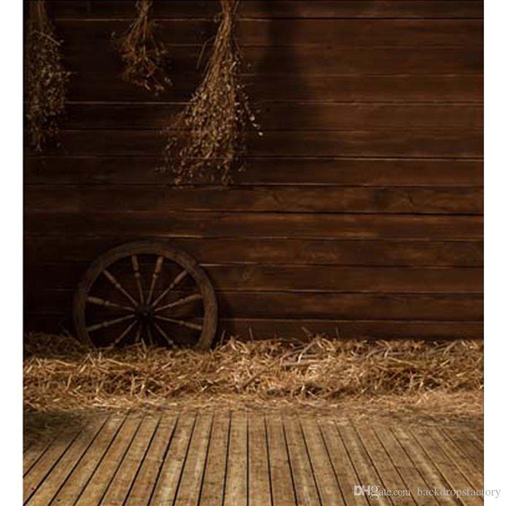 Vintage Indoor Photography Backdrops Wood Floor Straw