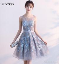 Junior High Graduation Dresses Sheer Tulle Neck Sexy See