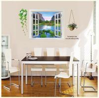 Ay893 Scenery False Window Wall Stickers Mountain Water