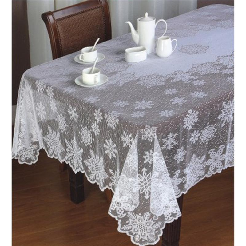 Wholesale Christmas Snowflake Table Clothes White Lace