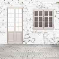 2018 White Painted Brick Wall Floor Photo Backdrops Wooden ...