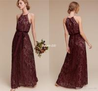 Deep Burgundy Lace Long Bridesmaid Dresses Halter Sheath ...
