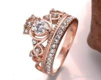 2018 Princess Crown Zircon Rings Wedding Ring For Women ...