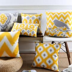 Sofa Cushion Replacement Service Discount Sets Warm Yellow Color Cover Geometric Chevron Stripes ...