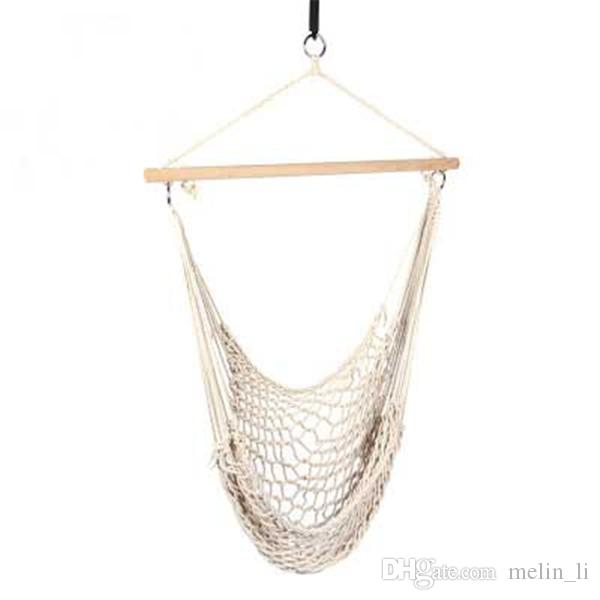 rope chair swing what is yoga outdoor hammock hanging chairs cotton net cradles kids adults indoor seat brunton compasses pocket from
