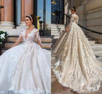 2018 Luxury Wedding Dresses Plus Size Lace Appliques 3d ...