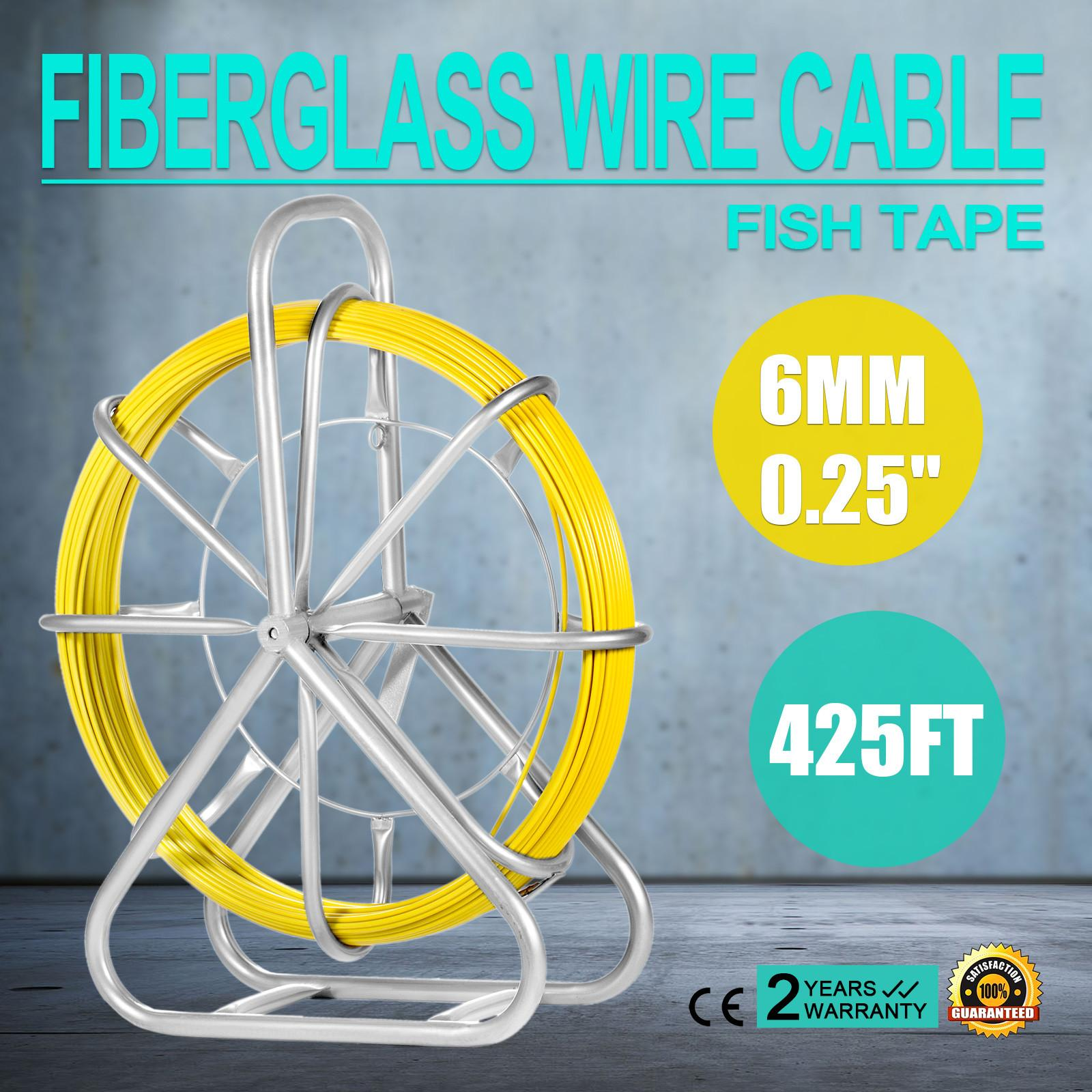 hight resolution of 2019 vevor fish tape fiberglass 6mm 425ft duct rodder fish tape continuous fiberglass wire cable running with cage and wheel stand 425ft from sihao