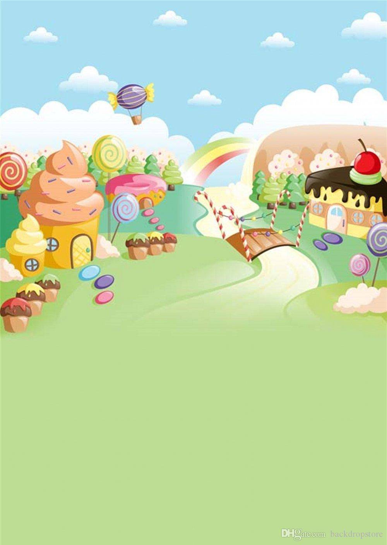 Kids Cartoon Background Blue Sky Clouds Ice Cream House