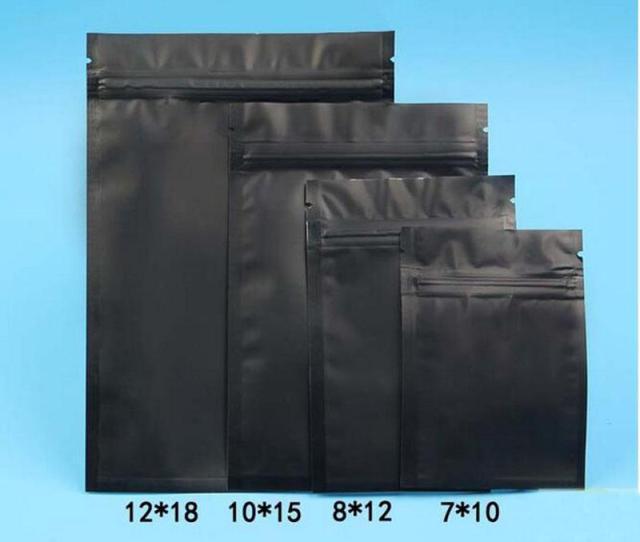 Pcs Xcm Cm Black Color Metallic Mylar Ziplock Bags Flat Bottom Black Aluminum Foil Small Zip Lock Plastic Bags