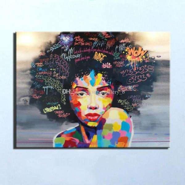 2019 Pure Handpainted Modern Abstract Graffiti Art Oil Painting African Women Portrait Home
