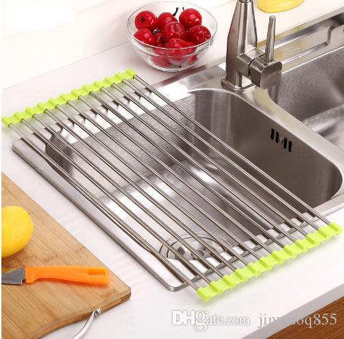 kitchen sink rack accesories stainless steel foldable dish cutlery drainer drying holder fruits cup tool storage hanging hook