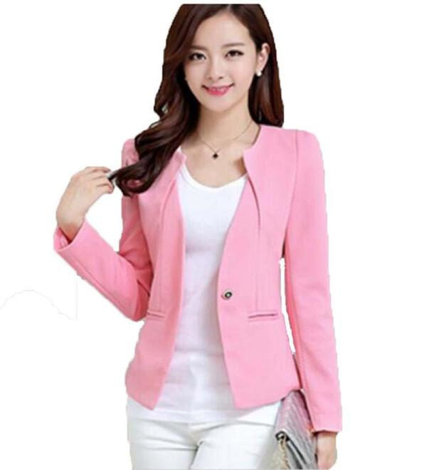 Spring And Autumn Pink Suit Women 2017