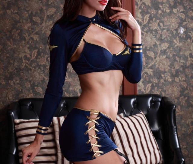 Erotic Exposed Waist Cosplay Stewardess Costume Women Sexy Temptation Uniform Lenceria Mujer Sexy Costumes For Adult Role Playing Games Hot White Long Skirt