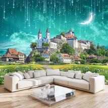 3d Galaxy Wallpaper Fantasy Castle Wall Mural Custom