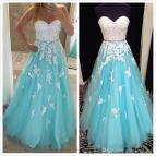 Light Blue Ball Gown Prom Dresses Sweetheart Crystal