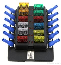12 way led boat car blade fuse box truck rv fuse block holder with spade terminals [ 1000 x 1000 Pixel ]