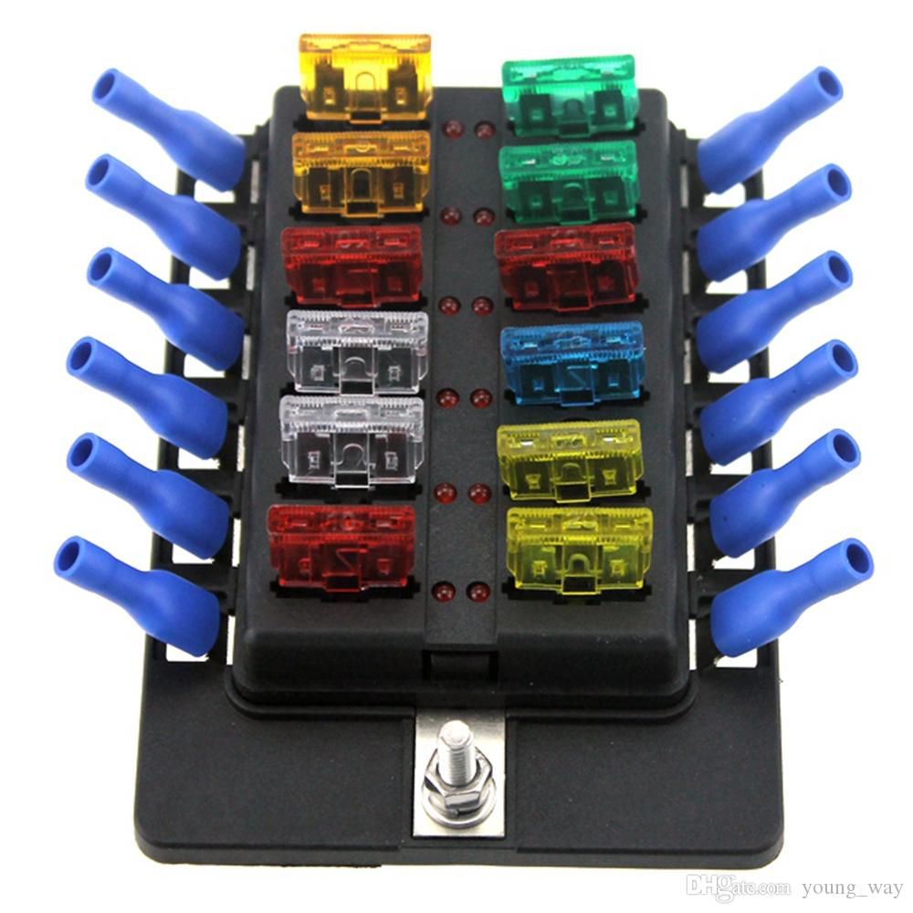 medium resolution of 12 way led boat car blade fuse box truck rv fuse block holder with spade terminals