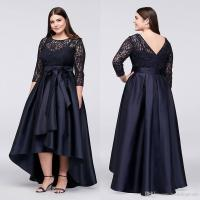 Black Plus Size High Low Formal Dresses With Half Sleeves ...