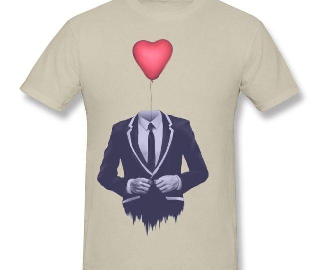 Mr Valentine T Shirts Unique Heart Shaped Ballon Print Tees Shirt For Men Modern Art Design Tshirts For Guys Soft Clothing T Shirt Sale Cool Shirt Designs