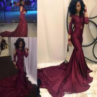 Sexy African Burgundy Prom Dresses For Black Girl Mermaid ...