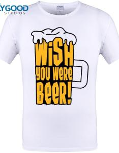 Wish you were beer print mens  shirts new fashion cool cup design men funny tops short sleeve tee plus size  xl online shirt printing on also rh dhgate