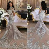 2018 Sexy Silver Mermaid Wedding Dresses High Neck Long ...