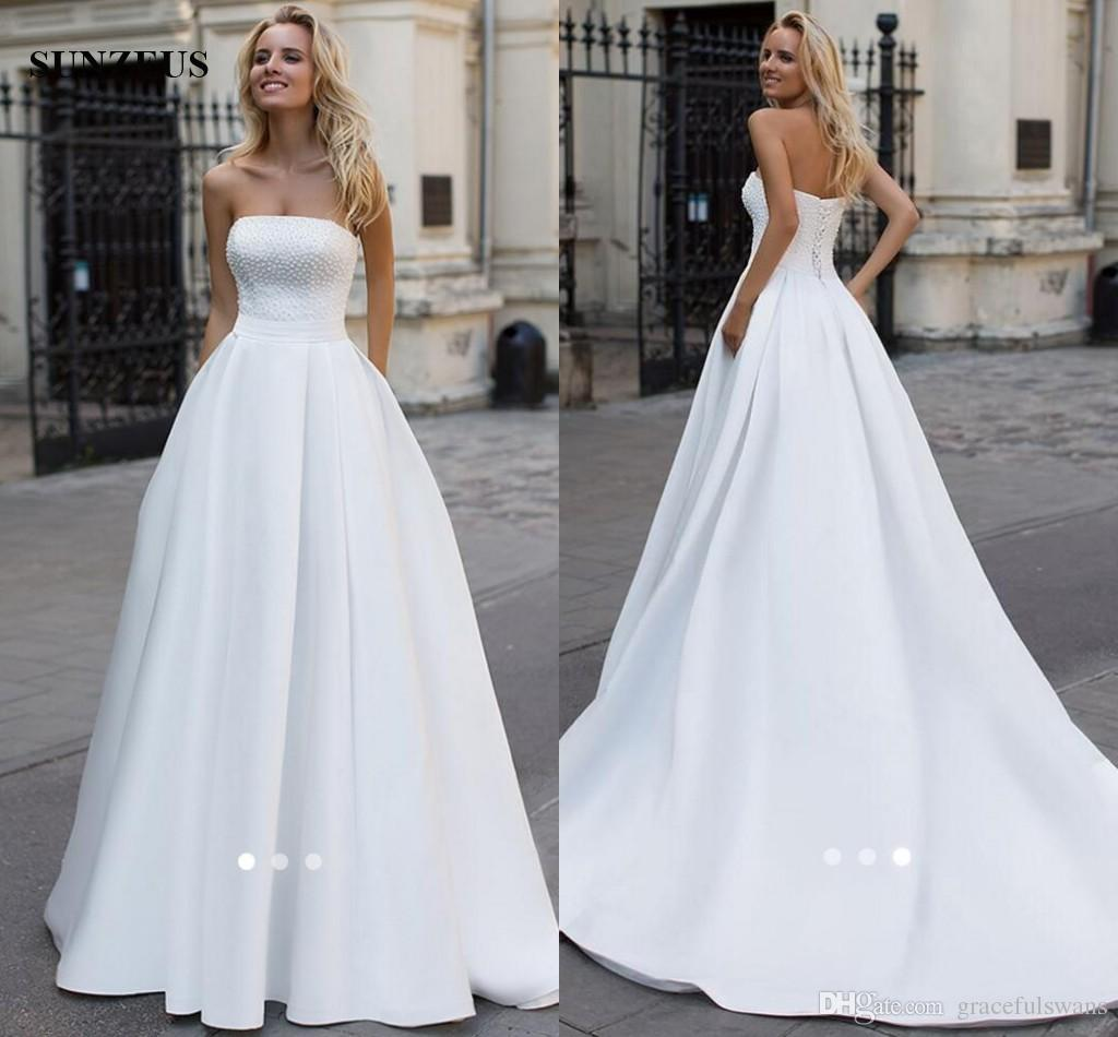 Discount Long White Satin Wedding Dresses A Line Strapless