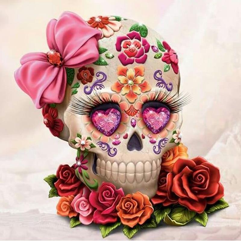 Cute Dia De Los Muertos Wallpaper 2019 Skull Flower Full Drill Diy Mosaic Needlework Diamond