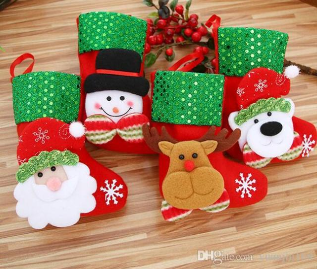 Small Sequins Christmas Stocking Xmas Decorations Children Gift Candy Bag Santa Claus Socks Christmas Tree Ornaments Santa Sacks G Christmas Decor Online
