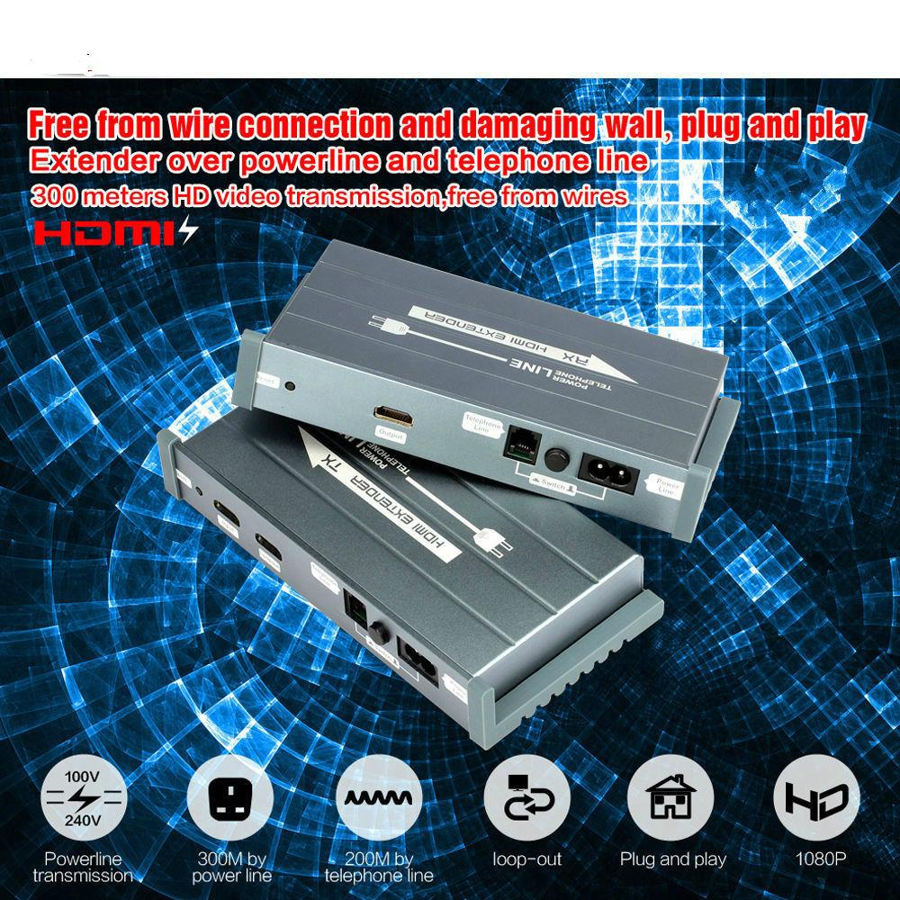 hight resolution of 2019 hsv900 300m hdmi extender over powerline or telephone line support 1080p plc hdmi over powerline extender transmitter receiver from elifes