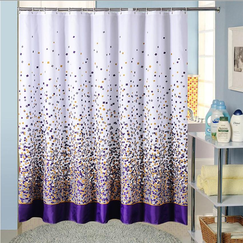 shower curtain in living room oak floors 2019 wholesale polyester fabric bath with hooks high quality purple colored squares bathing waterproof curtains for the bathroom from