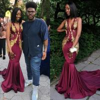 Burgundy Mermaid Prom Dresses With Gold Applique Lace ...