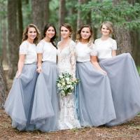 Country Dusty Blue Bridesmaid Dresses 2017 Elegant Long ...