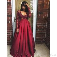 Dark Red Long Sleeve Prom Dresses V Neck A Line Satin And ...