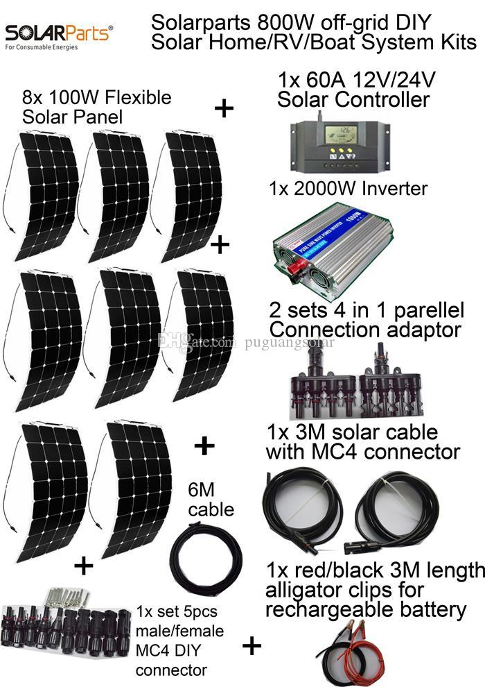 Solarparts Off Grid Solar System KITS 800W Flexible Solar