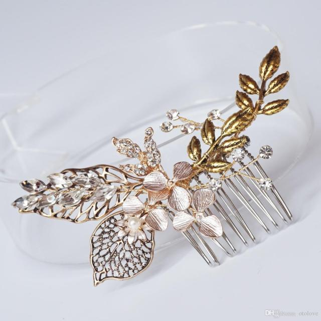 wholesale vintage floral bridal hair comb leaf branch antique gold wedding headpiece women hair accessories 2017