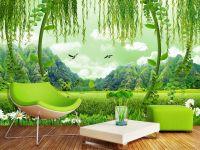 Green Field Scenery 3D TV Background Wall Mural 3d ...