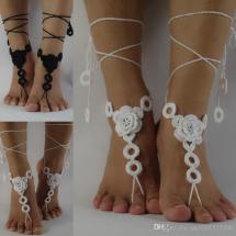 White Crochet Barefoot Sandals